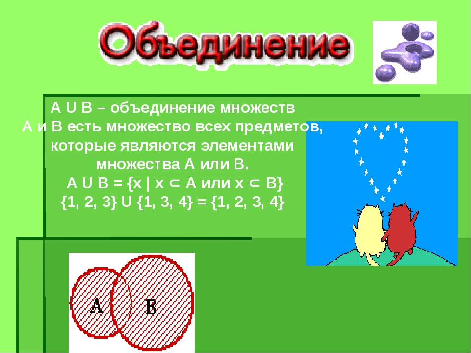А U В – объединение множеств А и В есть множество всех предметов, которые явл...