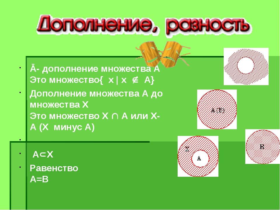 Ā- дополнение множества А Это множество{ х | х  А} Дополнение множества А д...