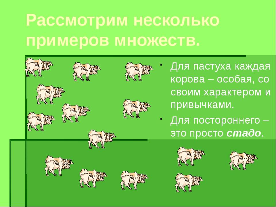 Рассмотрим несколько примеров множеств. Для пастуха каждая корова – особая, с...