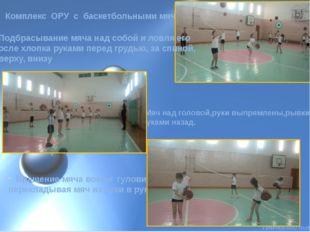 Комплекс ОРУ с баскетбольными мячами Мяч над головой,руки выпрямлены,рывки ру