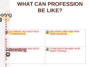 WHAT CAN PROFESSION BE LIKE?