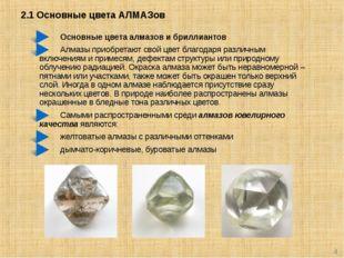 2.1 Основные цвета АЛМАЗов * Основные цвета алмазов и бриллиантов Алмазы прио