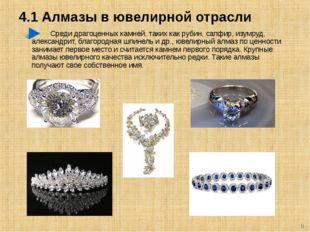 4.1 Алмазы в ювелирной отрасли Среди драгоценных камней, таких как рубин, сап