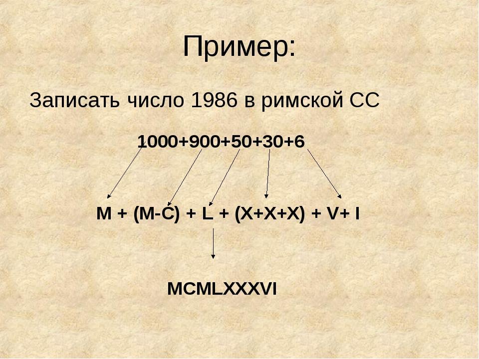 Пример: Записать число 1986 в римской СС 1000+900+50+30+6 M + (M-C) + L + (X+...