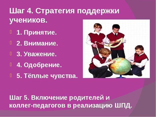 Шаг 4. Стратегия поддержки учеников. 1. Принятие. 2. Внимание. 3. Уважение. 4...