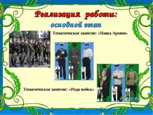 Реализация работы: основной этап Тематическое занятие: «Наша Армия» Тематичес