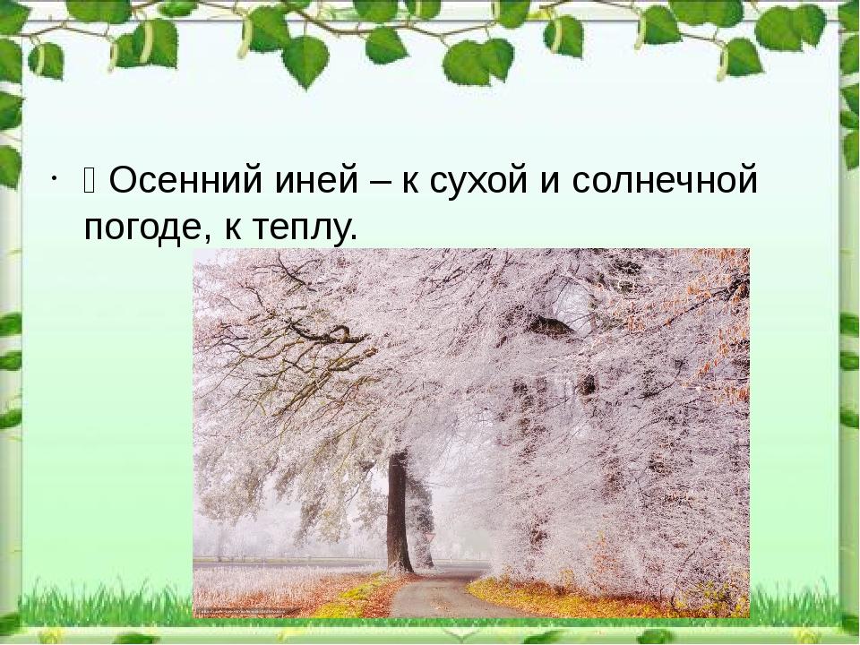 Ÿ Осенний иней – к сухой и солнечной погоде, к теплу.