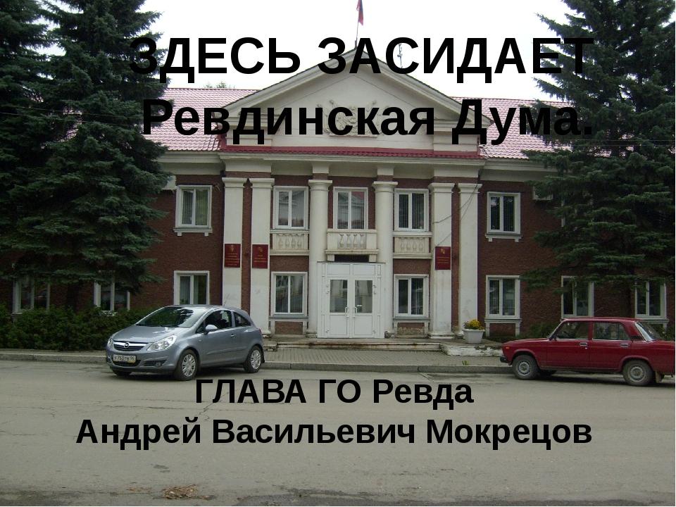 ЗДЕСЬ ЗАСИДАЕТ Ревдинская Дума. ГЛАВА ГО Ревда Андрей Васильевич Мокрецов