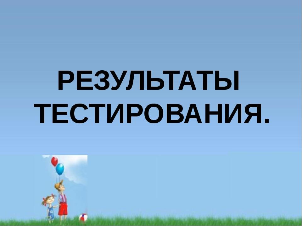 РЕЗУЛЬТАТЫ ТЕСТИРОВАНИЯ.