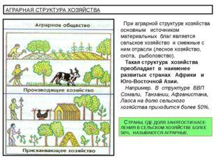 АГРАРНАЯ СТРУКТУРА ХОЗЯЙСТВА При аграрной структуре хозяйства основным источн