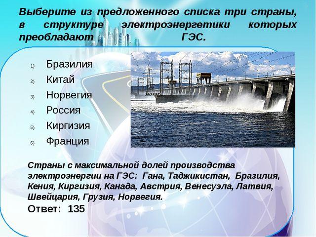 Выберите из предложенного списка три страны, в структуре электроэнергетики к...