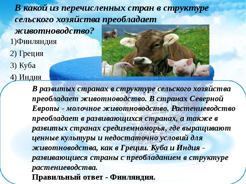 В развитых странах в структуре сельского хозяйства преобладает животноводство...