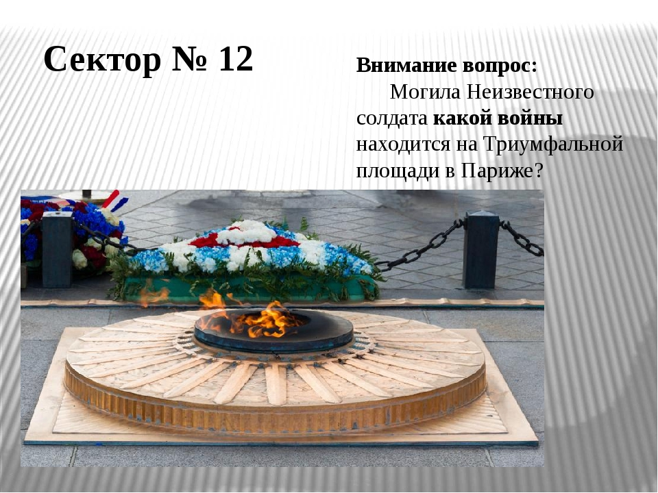 Внимание вопрос: Могила Неизвестного солдата какой войны находится на Триумфа...