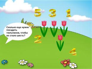 Сколько еще нужно посадить тюльпанов, чтобы их стало шесть?