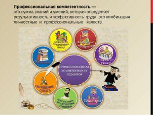 Профессиональная компетентность — это сумма знаний и умений, которая определя