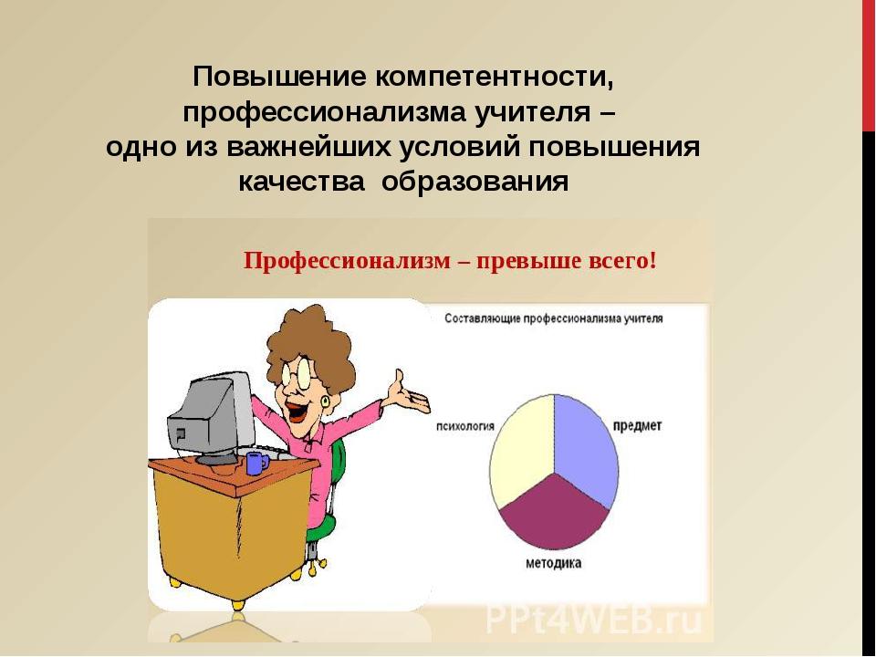 Повышение компетентности, профессионализма учителя – одно из важнейших услови...