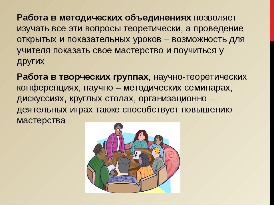 Работа в методических объединениях позволяет изучать все эти вопросы теоретич...
