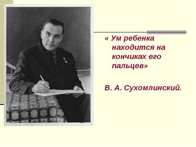 « Ум ребенка находится на кончиках его пальцев» В. А. Сухомлинский.