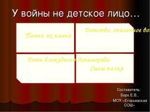 У войны не детское лицо… Составитель: Борк Е.В., МОУ «Егорьевская СОШ» Помни