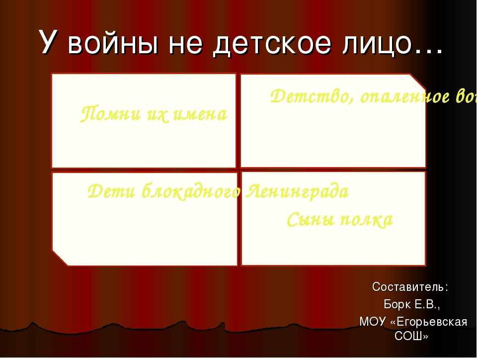 У войны не детское лицо… Составитель: Борк Е.В., МОУ «Егорьевская СОШ» Помни...