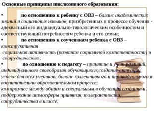 Основные принципы инклюзивного образования: по отношению к ребенку с ОВЗ – ба
