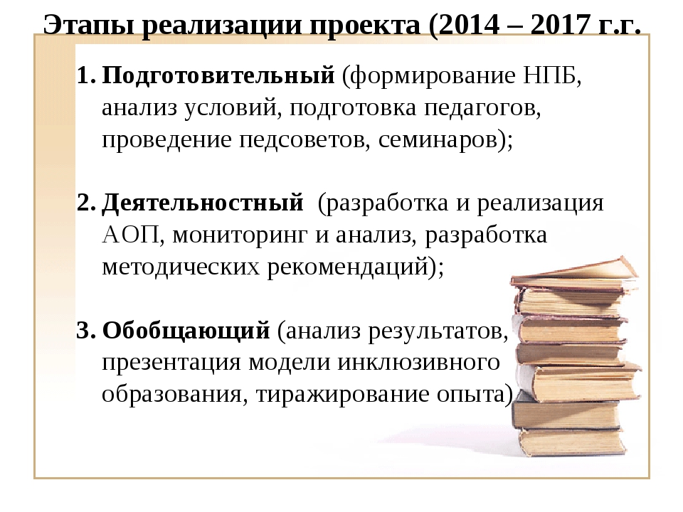 Этапы реализации проекта (2014 – 2017 г.г. Подготовительный (формирование НПБ...