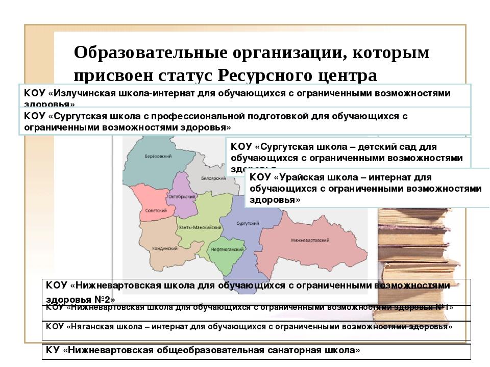 Образовательные организации, которым присвоен статус Ресурсного центра КОУ «И...