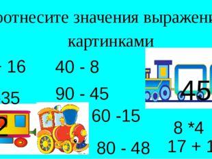 Соотнесите значения выражений с картинками 45 32 80 -35 40 - 8 60 -15 80 - 48