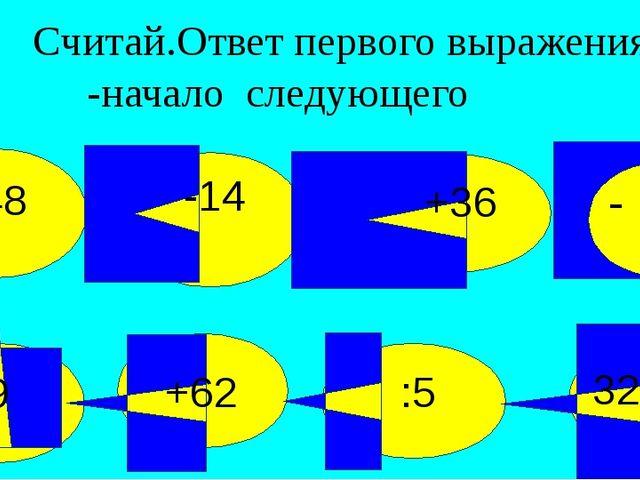 Считай.Ответ первого выражения -начало следующего 32+18 :5 +62 :9 +48 -14 +3...