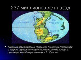 237 миллионов лет назад Гондвана объединилась с Лавразией (Северной Америкой)