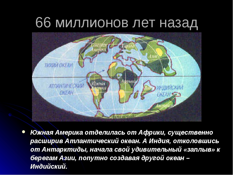 66 миллионов лет назад Южная Америка отделилась от Африки, существенно расшир...