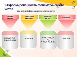 2.Сформированность фонематического слуха Б-П, Д-Т, Г-К, В-Ф, З-С, Ж-Ш С-Ш, З-