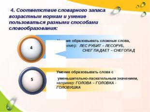 Умение образовывать сложные слова, например: ЛЕС РУБИТ – ЛЕСОРУБ, СНЕГ ПАДАЕ