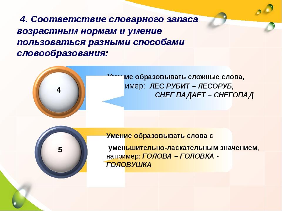 Умение образовывать сложные слова, например: ЛЕС РУБИТ – ЛЕСОРУБ, СНЕГ ПАДАЕ...