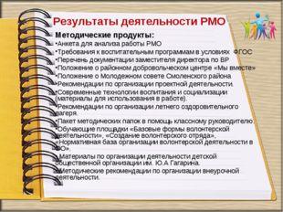 Результаты деятельности РМО Методические продукты: Анкета для анализа работы