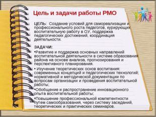 Цель и задачи работы РМО ЦЕЛЬ: Создание условий для самореализации и професси
