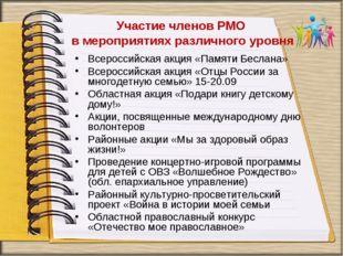 Участие членов РМО в мероприятиях различного уровня Всероссийская акция «Пам