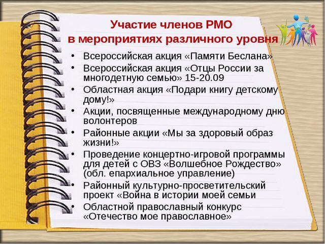 Участие членов РМО в мероприятиях различного уровня Всероссийская акция «Пам...