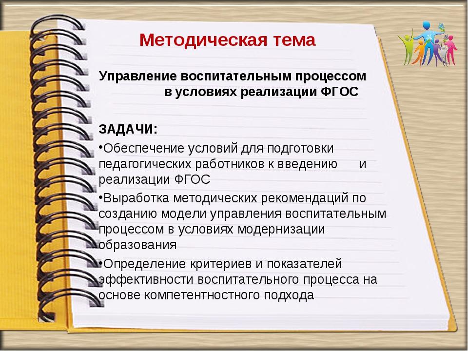 Методическая тема Управление воспитательным процессом в условиях реализации Ф...