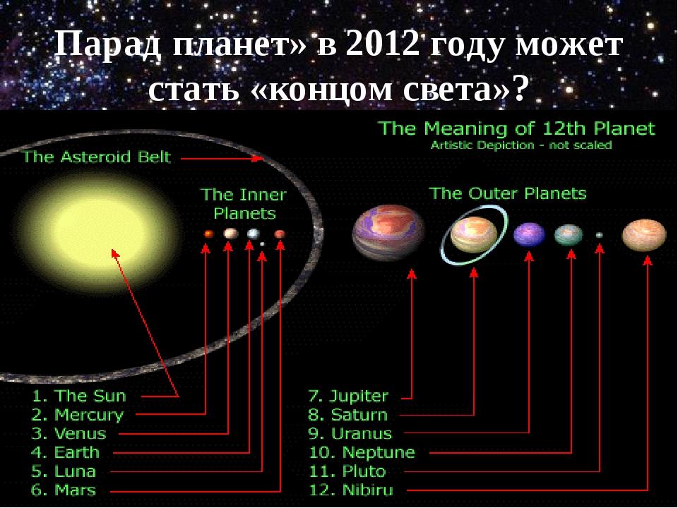 Парад планет» в 2012 году может стать «концом света»?