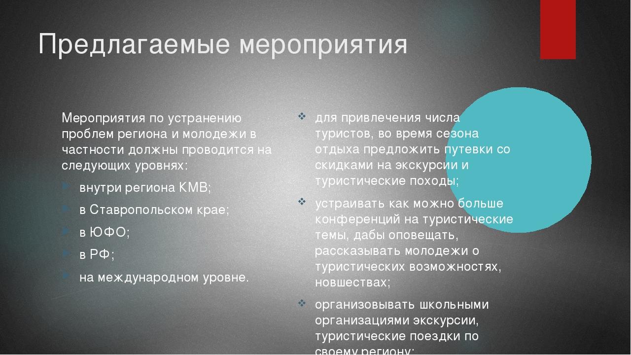 Предлагаемые мероприятия Мероприятия по устранению проблем региона и молодежи...