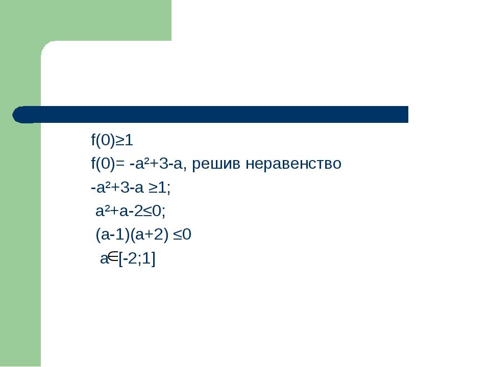 f(0)≥1 f(0)= -a²+3-a, решив неравенство -a²+3-a ≥1; a²+a-2≤0; (a-1)(a+2) ≤0...