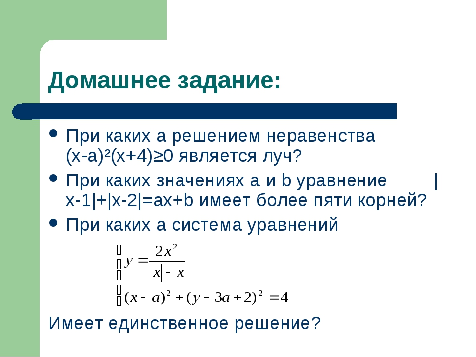 Домашнее задание: При каких а решением неравенства (х-а)²(х+4)≥0 является луч...