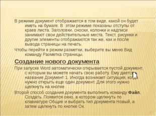 В режиме документ отображается в том виде, какой он будет иметь на бумаге. В