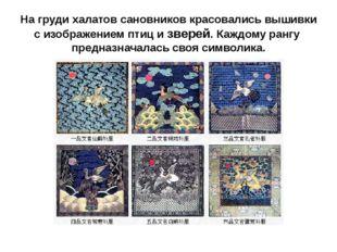 На груди халатов сановников красовались вышивки с изображением птиц и зверей.