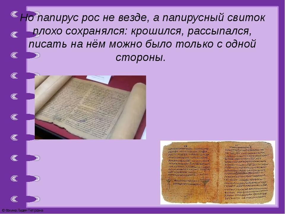 Но папирус рос не везде, а папирусный свиток плохо сохранялся: крошился, расс...