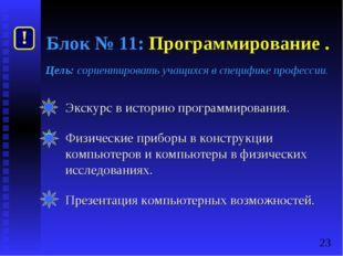 Блок № 11: Программирование . Цель: сориентировать учащихся в специфике профе