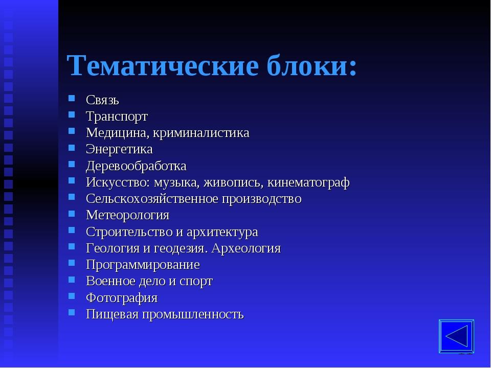 Тематические блоки: Связь Транспорт Медицина, криминалистика Энергетика Дерев...