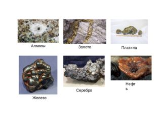 Железо Платина Серебро Алмазы Золото Нефть