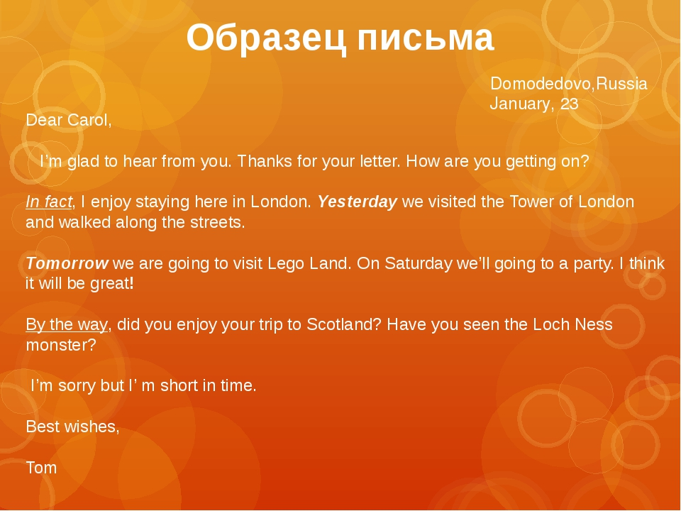 Domodedovo,Russia January, 23 Dear Carol, I'm glad to hear from you. Thanks...